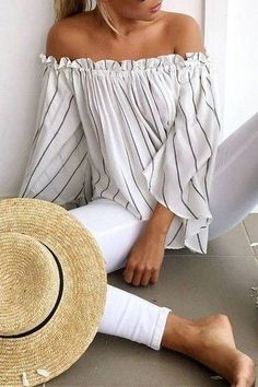 #summer #outfits / striped off the shoulder