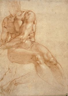 Michelangelo Buonarroti. 'Study of a Seated Young Man and Two Studies of the Right Arm' around 1511