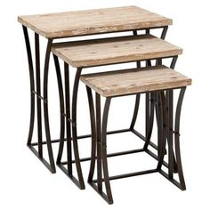 Set of three reclaimed wood and metal nesting tables.Product: Small, medium, and large nesting tableConstruction Material: Metal and reclaimed woodColor: NaturalFeatures: Multi-purposeSturdy but stylish Dimensions: 19 H x 15 W x 10 D (overall) Bed Bath & Beyond, Accent Furniture, Living Room Furniture, Furniture Decor, Industrial Furniture, Retro Furniture, Rustic Industrial, Rustic Wood, Dining Rooms