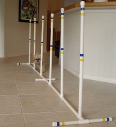 Dog Agility Equipment Indoor - Outdoor Weave Poles - Set of 6 weaves - Furniture Grade PVC!
