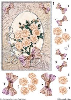 Peach Opalescent Bouquet Decoupage