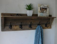 Rustic 5 Hanger Coat Rack With Shelf Handmade Item From Reclaimed Wood