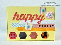 Card made with the #epiphanycrafts Shape Studio Tool Hexagon. www.epiphanycrafts.com #scrapbook #card #americancrafts #dearlizzy #octoberafternoon #mymindseye
