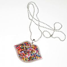 Sprinkles and Resin Candy Kiss Necklace