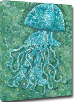 These aqua jellyfish with their whimsical dancing tentacles will make any beach themed room a little brighter and happier!