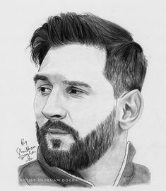 Lionel Messi - A Dazzling Football Star Marvel Drawings, Dark Art Drawings, Art Drawings Sketches Simple, Realistic Drawings, Portrait Sketches, Pencil Portrait, Portrait Art, Messi Drawing, Pencil Drawing Images
