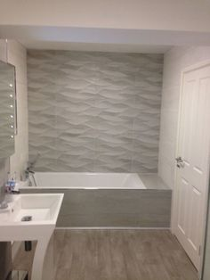 Bathroom shower tile neutral tubs new Ideas tile ideas neutral Bathroom shower tile neutral tubs new Ideas Neutral Bathroom Tile, Best Bathroom Tiles, Bathroom Tile Designs, Bathroom Wall, Bathroom Interior, Modern Bathroom, Bathroom Ideas, Bathroom Flooring, Textured Tiles Bathroom