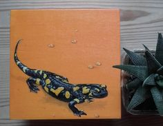 Tiger Salamander Handpainted on a Wooden Box by PaintWorkStudios on Etsy
