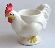 White ceramic pottery - Vintage signed cannoncraft chicken egg cup -       ....www.ebay.com