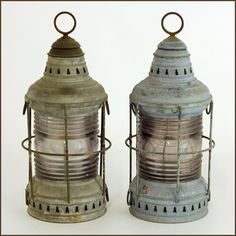 Pair of antique PERKO boat lights- Available at Studio 534