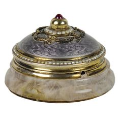 A Lavender Guilloche Enameled Push Bell, Ruby Finial, Pearls in Swag, Lavender Jade Base