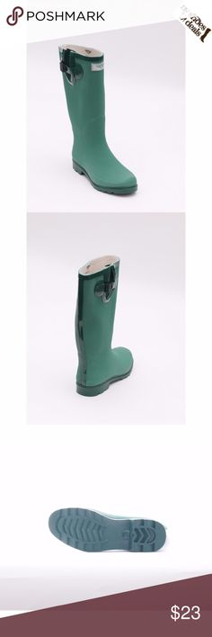 "Women's Green Rubber Rain Boots 14"" tall RB-1518 Enjoy Rainy Weather in Stylish Ladies' Rain Boots! 100% Rubber, Full Cotton Lining. Whatever you Call Them - Wellies, Galoshes, Rain Boots or Sluggers, your Feet are Sure to Stay Dry While Exploring Puddles or Gardening! Run Half a size Large to Accommodate a Thick Sock. Not made for Wide Calves.  Height 14"", calf circumf. approx. 15"". Forever Young Shoes Winter & Rain Boots"