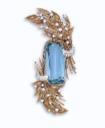 AN AQUAMARINE, DIAMOND AND GOLD BROOCH, BY STERLE. Set with an elongated rectangular-cut aquamarine, bordered by two gold ropework foliate bouquets, with old European-cut diamond flower buds and ribbon, mounted in 18k gold and platinum, with French assay marks and maker's marks for Sterlé et Cie. Signed Sterlé, Paris, no. 8672