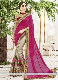 Magenta Chiffon Material Saree With Embroidered Work