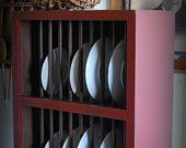 Double Rows Primitive Country Plate Rack Kitchen Cupboard