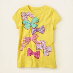 girl - graphic tees - short sleeve - multi bows graphic tee | Childrens Clothing | Kids Clothes | The Childrens Place