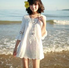 Summer new arrival korean style Woman lace Dress Casual Clothes Women vintage cute Dresses white beach casual dress