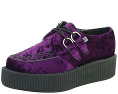 Shoes Crushed Purple Velvet High Viva Creeper - Image 1 of 1 Creeper Boots, Creeper Sneakers, Pretty Shoes, Cute Shoes, Me Too Shoes, Tuk Creepers, Velvet Shoes, Sock Shoes, Outfits