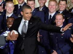 You gotta love the President of the United States doing the heisman pose...