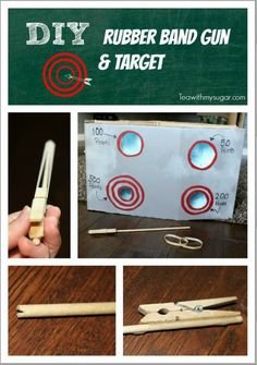 Want a great DIY craft for kids. Your kids will have so much fun with their DIY rubber band gun and target. Great for summer time or weekend kids craft.