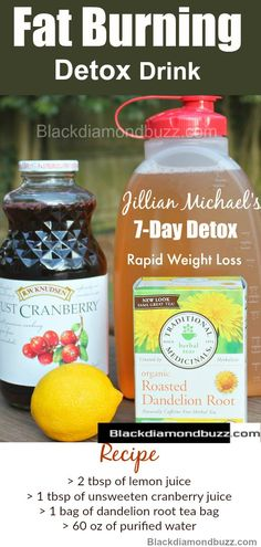 Jillian Michaels Detox Drink Recipe for Fast Weight Loss and Flat Belly at Home:Recipes- 2 tbsp of lemon juice, 1tbsp of unsweeten cranberry juice, 1 bag of Dandelion root tea bag, 60 oz of purified water #detox #drink #jillianmichael
