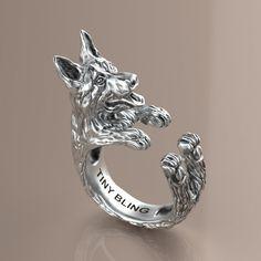Handmade German Shepherd Ring in Sterling Silver. by TinyBling