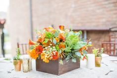 Natural Orange and Green Floral Centerpiece