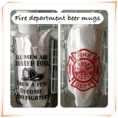 Personalized Beer Mugs, Fire Department Police Doctor Nurse or other design of your choice. $10.00, via Etsy.