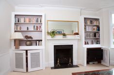 alcove units with tv on a pull-out bracket