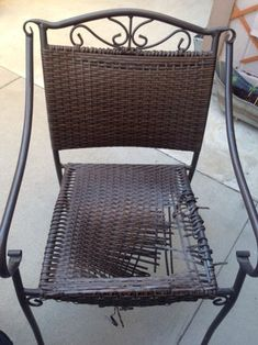 Dollar Patio Chair Seat Replacement - Patio Chair - Ideas of Patio Chair - I have two wicker patio chairs that both decided to come apart around the same time. Instead of trashing the set and buying a new one I decided to try creating a Wicker Patio Chairs, Outdoor Wicker Furniture, Patio Chair Cushions, Lawn Chairs, Adirondack Chairs, Cheap Outdoor Chairs, Garden Furniture Design, Patio Furniture Makeover, Chair Makeover
