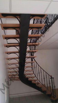 Escalier droit limon central fer et bois 2 escalier pinterest - Balance a l ancienne ...