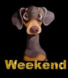 Discover & share this Weekend Sticker for iOS and Android. Bon Weekend, Hello Weekend, Gif Greetings, Weekend Greetings, Weekend Images, Gb Bilder, Biker Quotes, Gifs, Crusoe The Celebrity Dachshund