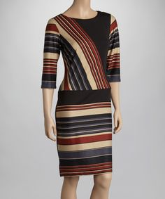 This Black & Brown Stripe Shift Dress by Gabby Skye is perfect! #zulilyfinds