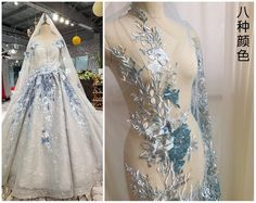 Applique Wedding Dress, Embroidery Applique, Embroidery Designs, Beaded Wedding Gowns, Bridal Gowns, Wedding Dresses, Dragonfly Wedding, Embroidery Patches, Pearl Beads