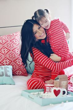 """""""Mommy and I wear the jammies we got for Christmas."""""""