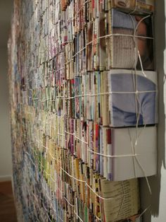 side view of the recycled magazine art by Amanda Nelsen
