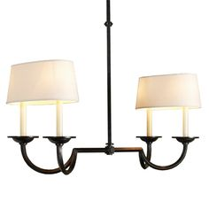 Hook and Line Chandelier with Oval Shades aged_iron
