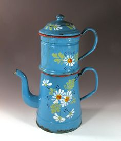 Daisy Floral French Enamelware Coffee Biggin