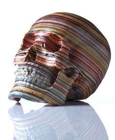 Skull (Side view) - made from repurposed skateboard decks by Japanese artist Haroshi