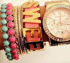 Michael Kors watch and bling