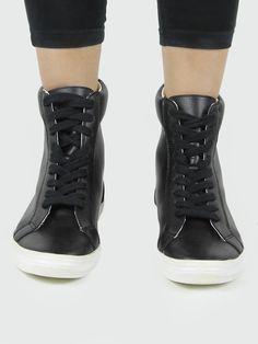 Vegan Vegetarian Non-Leather Womens Sneaker boots black