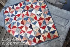 25 Quilting Tutorials: love this hour glass quilt with the colour combinations