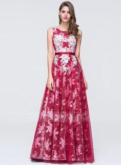 [US$ 147.99] A-Line/Princess Scoop Neck Floor-Length Tulle Prom Dress (018093876)