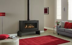 Sharing all the features of the Gazco Studio 1 Freestanding gas fire the larger Studio 2 displays a spectacular, panoramic flame picture and can provide a