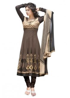 Brown anarkali suit with zari and resham embroidery