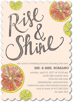 Shining Citrus - After Wedding Brunch Invitations - Get the party started with refreshing cocktails and celebrate the bride-to-be.