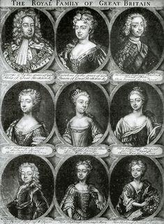 Engraving of the royal couple (George II and Caroline) and their seven children who survived infancy