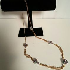 """Jewelry Gold tone chain with multi colored beads 17 1/2"""" long Jewelry Necklaces"""