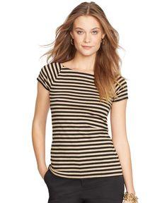 Lauren Ralph Lauren Petite Striped Short-Sleeve Top