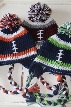 Football Beanie Hat, Crochet, Boy, Male, Female, Seahawks, Broncos, Griz, Bob Cats, Cardinals, Patriots, Green Bay, Cowboys, Fall Fashion by JillyBeaniesBoutique on Etsy https://www.etsy.com/listing/219150478/football-beanie-hat-crochet-boy-male